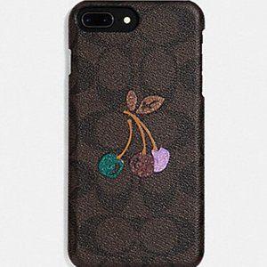 Coach Signature Glitter Cherry IPhone Case NWT